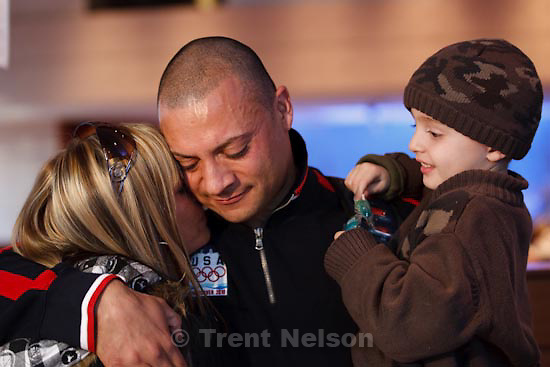 Trent Nelson  |  The Salt Lake Tribune.Team USA bobsled athlete Bill Schuffenhauer has a surprise reunion with his fiancee Ruthann Savage and son Corben (4), who were flown to Vancouver by Procter & Gamble to watch Schuffenhauer compete. The reunion took place at Procter & Gamble's Family Home, which serves as a home away from home for athletes' families in downtown Vancouver. XXI Olympic Winter Games in Vancouver, Monday, February 22, 2010.