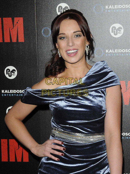Anna Nightingale.The 'Victim' gala film screening, Apollo cinema, Lower Regent St., London, England..June 20th, 2012.half length blue silk satin off the shoulder dress smiling silver waistband .CAP/CAN.©Can Nguyen/Capital Pictures.