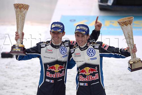 14.02.2016. Värmullsåsen, Sweden. WRC Rally of Sweden, final stage SS21.  PODIUM shot of Sebastien Ogier (FR) and  Julien Ingrassia (FR) - Volkswagen Polo WRC