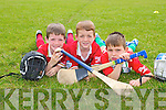Hugh Lenihan, Maurice Lenihan and Shane O'Connor enjoying the Ardfert Hurling Cul Camp  on Tuesday