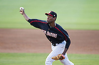 Kannapolis Intimidators relief pitcher Jose Brito (37) delivers a pitch to the plate against the Hagerstown Suns at CMC-Northeast Stadium on June 1, 2014 in Kannapolis, North Carolina.  The Suns defeated the Intimidators 11-5 in game two of a double-header.  (Brian Westerholt/Four Seam Images)