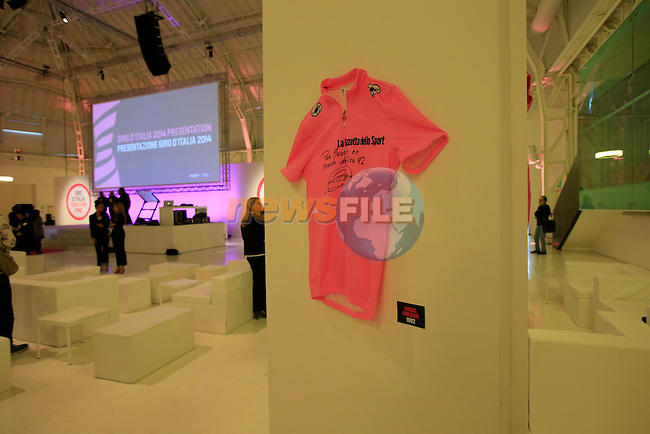 Miguel Indurain's 1992 winning Maglia Rosa on display at the 2014 Giro d'Italia Presentation held in the Palazzo del Ghiaccio in Milan, Italy. 7th October 2013.<br /> (Photo: Eoin Clarke/www.newsfile.ie)
