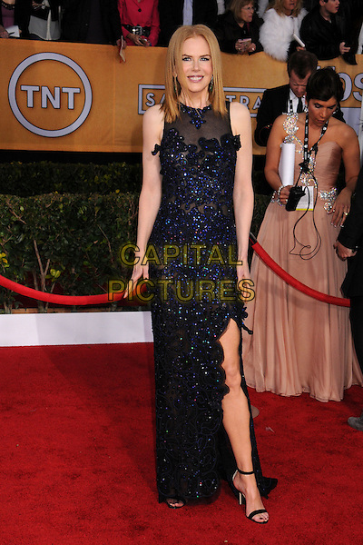 Nicole Kidman Urban (wearing Vivienne Westwood).Arrivals at the 19th Annual Screen Actors Guild Awards at the Shrine Auditorium in Los Angeles, California, USA..27th January 2013.SAG SAGs full length black blue lace dress sheer sleeveless slit split.CAP/ADM/BP.©Byron Purvis/AdMedia/Capital Pictures