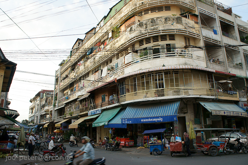 street corner in Phnom Penh, showing typical architecture, Cambodia, August 2011