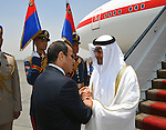 Egyptian President Abdel Fattah al-Sisi welcomes Crown Prince of Abu Dhabi Sheikh Mohammed bin Zayed al-Nahyan upon his arrival at Cairo's international airport in Cairo, Egypt, on May 25, 2016. Photo by Egyptian President Office