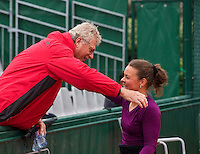 Paris, France, 01 June, 2016, Tennis, Roland Garros, Womans Wheelchair tennis, Marjolein Buis (NED) is congratulated by her coach Aad Zwaan<br /> Photo: Henk Koster/tennisimages.com