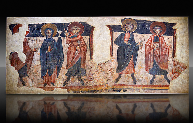 Romanesque frescoes of the Apostles from the church of Sant Roma de les Bons, painted around 1164, Encamp, Andorra. National Art Museum of Catalonia, Barcelona. MNAC 15783