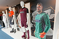 Pictured: Posters in the shop window. Friday 24 August 2018<br /> Re: Swansea City FC third kit launch at the club shop, Liberty Stadium, Swansea, Wales, UK.