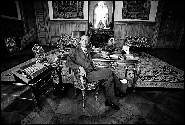 Jacques Chirac, the newly elected mayor in his office at city hall. Paris, France, March 26, 1977
