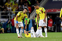 MOSCU - RUSIA, 03-07-2018: Johan MOJICA, Wilmar BARRIOS y Radamel FALCAO GARCIA jugadores de Colombia lucen decepcionados después del partido de octavos de final entre Colombia y Inglaterra por la Copa Mundial de la FIFA Rusia 2018 jugado en el estadio del Spartak en Moscú, Rusia. / Johan MOJICA, Wilmar BARRIOS and Radamel FALCAO GARCIA players of Colombia look disappointed after the match between Colombia and England of the round of 16 for the FIFA World Cup Russia 2018 played at Spartak stadium in Moscow, Russia. Photo: VizzorImage / Julian Medina / Cont