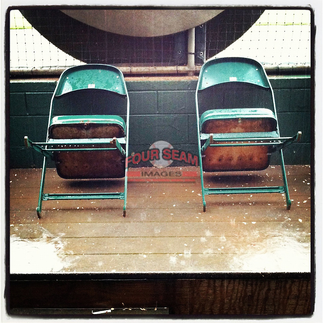 Rain delay from the dugout. (Tom Priddy/Four Seam Images)