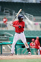 GCL Red Sox shortstop Jecorrah Arnold (17) at bat during a game against the GCL Rays on August 1, 2018 at JetBlue Park in Fort Myers, Florida.  GCL Red Sox defeated GCL Rays 5-1 in a rain shortened game.  (Mike Janes/Four Seam Images)