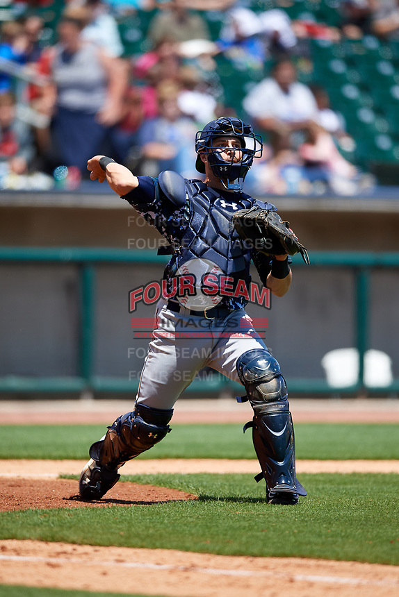 Jacksonville Jumbo Shrimp catcher Cam Maron (7) throws to first base during a game against the Birmingham Barons on April 24, 2017 at Regions Field in Birmingham, Alabama.  Jacksonville defeated Birmingham 4-1.  (Mike Janes/Four Seam Images)