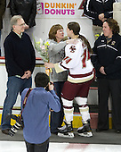 Richard Kurth, Michele Kurth, Katelyn Kurth (BC - 14), Courtney Kennedy (BC - Assistant Coach) - The Boston College Eagles and the visiting University of New Hampshire Wildcats played to a scoreless tie in BC's senior game on Saturday, February 19, 2011, at Conte Forum in Chestnut Hill, Massachusetts.