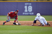 NJIT Highlanders shortstop Justin Etts (12) waits to apply a tag on Spencer Brown (26) of the High Point Panthers as he tries to steal second during game one of a double-header at Williard Stadium on February 18, 2017 in High Point, North Carolina.  The Panthers defeated the Highlanders 11-0.  (Brian Westerholt/Four Seam Images)