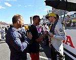 07.10.2018, Suzuka International Racing Course, Suzuka, Formula 1 2018 Honda Japanese Grand Prix<br />  , im Bild<br />Lukas Podolski begr&uuml;&szlig;t Nico H&uuml;lkenberg (GER#27), Renault Sport F1 Team, daneben RTL Kommentator Kai Ebel<br /><br /><br /> <br /> <br /> Foto &copy; nordphoto / Bratic