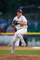 Auburn Doubledays pitcher Andrew Lee (41) delivers a pitch during a game against the Batavia Muckdogs on July 8, 2015 at Dwyer Stadium in Batavia, New York.  Batavia defeated Auburn 4-1.  (Mike Janes/Four Seam Images)