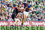 Anthony Maher Kerry has a tussle with  Stephen Coen Mayo in the All Ireland Semi Final Replay in Croke Park on Saturday.