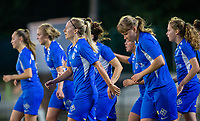 20190823 - OUD HEVERLEE BELGIUM : KRC Genk's Eleen Kimps  pictured in the celebration of Jarne Teuling's goal during the female soccer game between the OHL Ladies vs KRC Genk Ladies, the first game for both teams in the Belgian Women's Super League , Friday 23rd  August 2019 at the OHL Jeugdcomplex , Belgium . PHOTO SPORTPIX.BE | SEVIL OKTEM