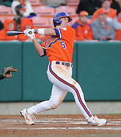 Infielder Mike Freeman (5) hits in a game between the Charlotte 49ers and Clemson Tigers Feb. 20, 2009, at Doug Kingsmore Stadium in Clemson, S.C. (Photo by: Tom Priddy/Four Seam Images)