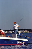"United States President George H.W. Bush goes fishing from his boat ""Fidelity"" at his summer vacation home in Kennebunkport, Maine on August 8, 1991.<br />