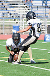 Culver City, CA 09/12/13 - Emilio Nunziati (Peninsula #9) and Beau Onouye (Peninsula #81) in action during the Peninsula vs Culver City Junior Varsity game at Culver City High School.