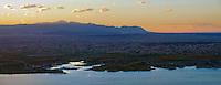 Sunset on Lake Pueblo with Pikes Peak and Pueblo West.  June 2014.