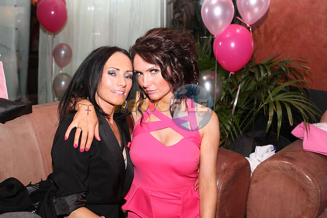 Maria Woods and Stephanie Carroll at the Pink and Bling Night in the Black Bull...(Photo credit should read Jenny Matthews/NEWSFILE)...