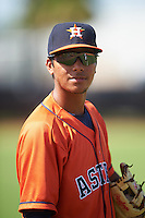 GCL Astros second baseman Juan Pineda (16) during warmups before the first game of a doubleheader against the GCL Mets on August 5, 2016 at Osceola County Stadium Complex in Kissimmee, Florida.  GCL Astros defeated the GCL Mets 4-1 in the continuation of a game started on July 21st and postponed due to inclement weather.  (Mike Janes/Four Seam Images)