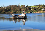 Cross River vehicle ferry from Glenbrook approaching Carrigaloe pier, County Cork, Ireland, Irish Republic