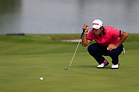 Hideki Matsuyama (JPN) on the 2nd green during the 3rd round of the WGC HSBC Champions, Sheshan Golf Club, Shanghai, China. 02/11/2019.<br /> Picture Fran Caffrey / Golffile.ie<br /> <br /> All photo usage must carry mandatory copyright credit (© Golffile | Fran Caffrey)