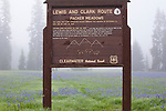 The Lewis and Clark sign at Packer Meadows on the Idaho - Montana border near Lolo Pass