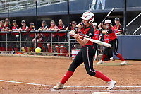 GREENSBORO, NC - MARCH 11: Katie Keller #6 of Northern Illinois University hits the ball during a game between Northern Illinois and UNC Greensboro at UNCG Softball Stadium on March 11, 2020 in Greensboro, North Carolina.