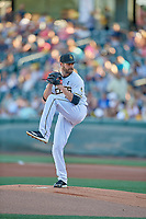 Salt Lake Bees starting pitcher Nick Tropeano (43) delivers a pitch to the plate against the Las Vegas Aviators at Smith's Ballpark on July 20, 2019 in Salt Lake City, Utah. The Aviators defeated the Bees 8-5. (Stephen Smith/Four Seam Images)
