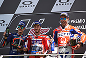 June 4th 2017, Mugello Circuit, Tuscany, Italy; MotoGP Grand Prix of Italy, Race day; Winners podium from left: 2nd placed Maverick Vinales, winner Andrea Dovizioso and 3rd placed Danilo Petrucci