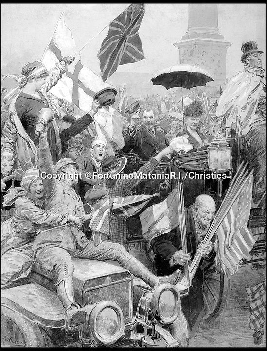 BNPS.co.uk (01202 558833)<br /> Pic: FortuninoMataniaR.I./Christies/BNPS<br /> <br /> ***Use Full Byline***<br /> <br /> Armistice Day celebrations in Trafalgar Square. King George V and Queen Mary can be seen looking on from the horse drawn carriage. <br /> <br /> Original art work chronicling major historical moments in British history that was for the world's first illustrated magazine is being sold at auction.<br /> <br /> The colourful drawings were for the front pages of The Illustrated London News and depict key events in the 20th century including the Royal wedding of Queen Elizabeth II and Phillip Mountbatten.<br /> <br /> Other moments in history illustrated include the coverage of both world wars and the Festival of Britain.<br /> <br /> The work is being sold by auctioneers Christie's in October