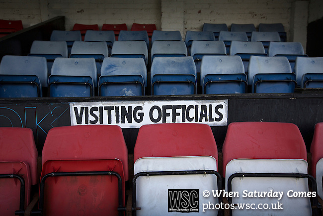 Bacup Borough 4 Holker Old Boys 1, 25/04/2016. Brain Boys West View Stadium, NorthWest Counties League Division One. A sign for visiting officials in the main stand at the Brain Boys West View Stadium before Bacup Borough play Holker Old Boys in a NorthWest Counties League division one fixture. Formed as Bacup in 1879, the club moved into their current home in 1889 and have been known as Bacup Borough since the 1920s, apart from a brief recent spell when they added the name Rossendale to their name. With both teams challenging for play-off places, Bacup Borough won this fixture by 4-1, watched by a crowd of 50. Photo by Colin McPherson.