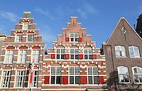 Nederland Leiden 2015 10 03 . Trapgevels in de binnenstad van Leiden. Rechts de Opstandingskerk.  Foto Berlinda van Dam / Hollandse Hoogte