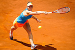 The tennis player Simona Halep during the match against Ana Ivanovic in the Madrid Open Tennis Tournament. In Madrid, Spain, on 09/05/2014.