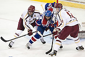 Patrick Wey (BC - 6), Josh Holmstrom (UML - 12), Kevin Hayes (BC - 12) - The University of Massachusetts Lowell River Hawks defeated the Boston College Eagles 4-2 (EN) on Tuesday, February 26, 2013, at Kelley Rink in Conte Forum in Chestnut Hill, Massachusetts.
