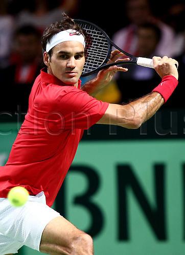 04.04.2014. Genf, Switzerland. Mens davis Cup tennis, Switzerland versus Khazakstan.  Roger Federer (SUI)