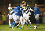 St Mirren v St Johnstone...25.03.14    SPFL<br /> Michael O'Halloran and Conor Newton<br /> Picture by Graeme Hart.<br /> Copyright Perthshire Picture Agency<br /> Tel: 01738 623350  Mobile: 07990 594431