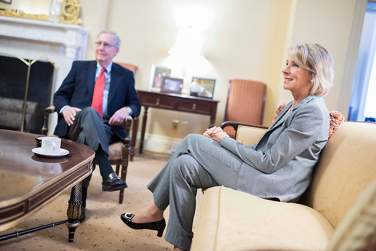 UNITED STATES - DECEMBER 01: Betsy DeVos, nominee for education secretary, poses for a photo before a meeting with Senate Majority Leader Mitch McConnell, R-Ky., in the Capitol, December 1, 2016. (Photo By Tom Williams/CQ Roll Call)