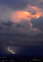 Aug. 21, 2012; Phoenix, AZ, USA: lightning bolt storm monsoon rain cloud sunset thunderstorm thunderhead  South Mountain Mandatory Credit: Mark J. Rebilas