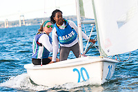 Skipper Caroline King,'21 and crew Alexa Percell '20, work together as the Salve Regina Sailing Team practices in the Newport Harbor.