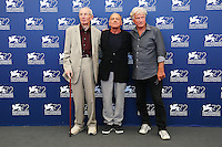 From left, Heinz Lieven, Bruno Ganz and Jurgen Prochnow attend a photocall for the movie 'Remember' during the 72nd Venice Film Festival at the Palazzo Del Cinema in Venice, Italy, September 10, 2015.<br /> UPDATE IMAGES PRESS/Stephen Richie