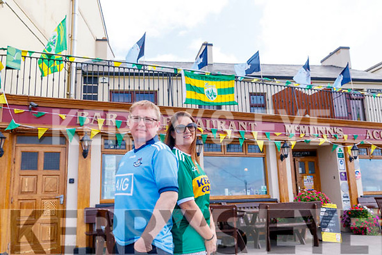 Greg and Una O'Connor proprietors of McMunns Bar & Restaurant in Ballybunion have gone all out to show their support for their respective teams.