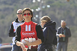 Team helpers wait for the riders on sector 3 Radi during Strade Bianche 2019 running 184km from Siena to Siena, held over the white gravel roads of Tuscany, Italy. 9th March 2019.<br /> Picture: Eoin Clarke | Cyclefile<br /> <br /> <br /> All photos usage must carry mandatory copyright credit (&copy; Cyclefile | Eoin Clarke)