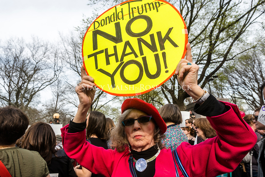 """New York, NY - 31 March 2016 - Approximately 200 Pro Choice advocates rallied in Columbus Circle, outside Trump Hotel and Towers, in response to the republican presidential candidate's remarks that women who get """"illegal"""" abortions should be punished. ©Stacy Walsh Rosenstock"""