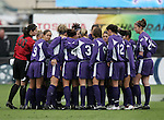 Portland's players huddle before the start of the game. The University of Portland Pilots defeated the UCLA Bruins 4-0 to win the NCAA Division I Women's Soccer Championship game at Aggie Soccer Stadium in College Station, TX, Sunday, December 4, 2005.